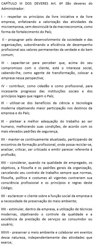 CEA - Capítulo III Dos Deveres - artigo 6º